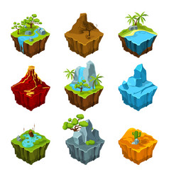 Fantasy isometric islands with vulcans different vector