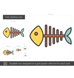 Fish skeleton line icon vector image