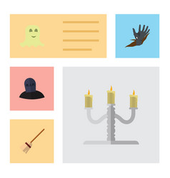 Flat icon halloween set of candlestick spirit vector