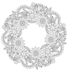 Floral doodles wreath in zentangle style circle vector image