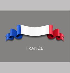 french flag wavy ribbon background vector image