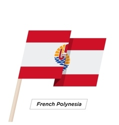 French Polynesia Ribbon Waving Flag Isolated on vector image