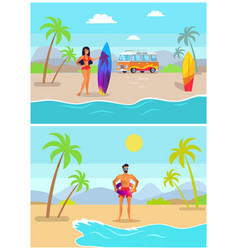 girl with surfboard and guy in inflatable ring vector image