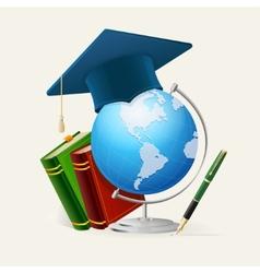 Graduation cap stack of books globe and pen vector