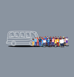 group people passengers waiting for tour bus vector image