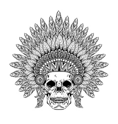 Hand Drawn Skull in zentangle Feathered War bonnet vector