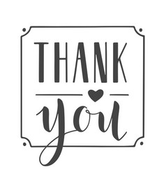 handwritten lettering thank you vector image
