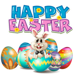 happy easter with bunny in egg vector image