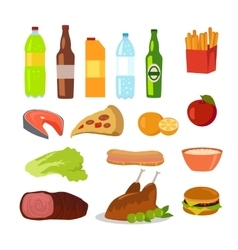 Healthy and Unhealthy Food Editable Food Icons vector image