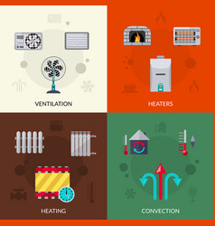 Heating ventilation and con icons set vector