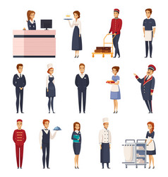 Hotel staff cartoon set vector