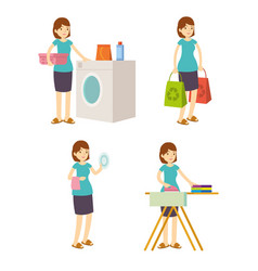 housewife mother washes iron shopping and cleaning vector image