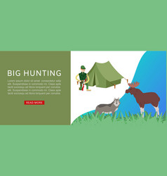 Hunting sport in forest with tent hunter riffle vector