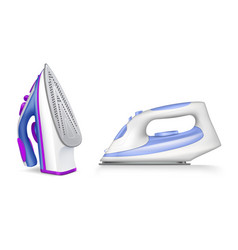 Iron ironing realistic icon set vector
