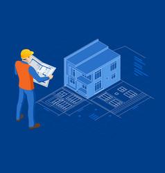 isometric builders on building site looking vector image
