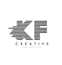 kf k f zebra letter logo design with black and vector image