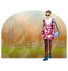 Lady Strolling the Streets vector image