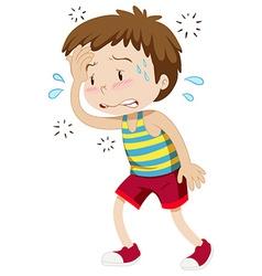 Little boy having hyperthermia vector image