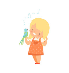 Little girl standing with parrot on her arm vector