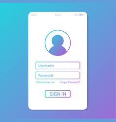 login to application account on smartphone flat vector image