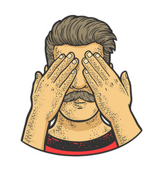 man covered his eyes with his hands sketch vector image