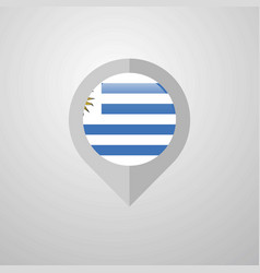 Map navigation pointer with uruguay flag design vector