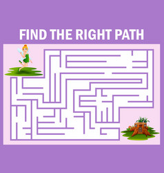maze game finds the fairy fly away to the home vector image