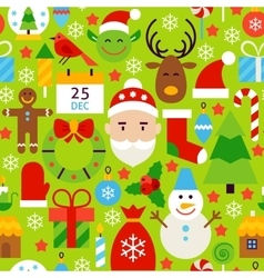 Merry Christmas Green Tile Pattern vector image