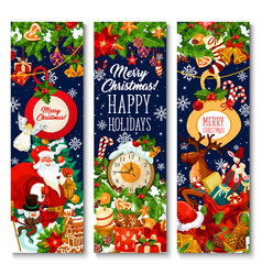 Merry christmas holiday greeting banners vector