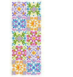 Mexican talavera ceramic tile pattern cute naive vector