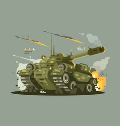 Military tank in fire vector