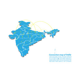 Modern of india map connections network design vector
