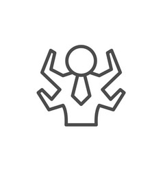 Multitasking line outline icon and management sign vector
