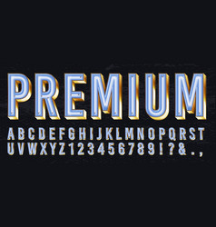 Neon light box font premium glowing letters vector