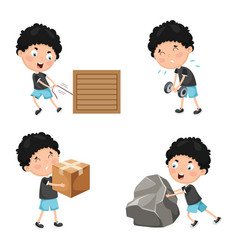 Of kids physical activities vector