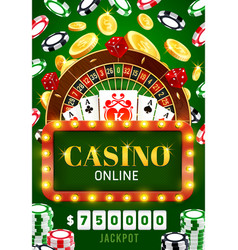 online casino poker wheel fortune jackpot vector image