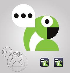 Original talking parrot logo icon communication vector