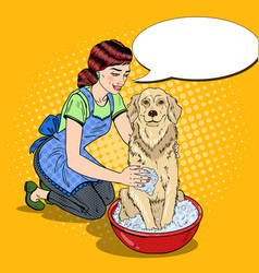 pop art happy woman washing labrador vector image