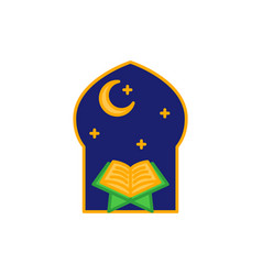 Read quran at night time in the mosque simple vector