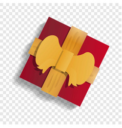 red xmas gift box icon cartoon style vector image