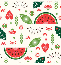 seamless pattern stylized decoative watermelon vector image
