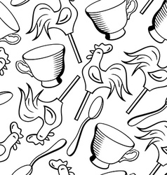 Seamless pattern with cups spoons and vector