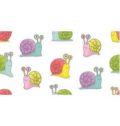 seamless pattern with snails vector image