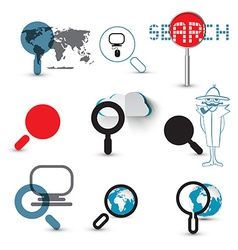 Search Icons Magnifying Glasses Set with World Map vector