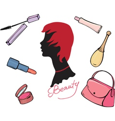 Set cosmetic items vector
