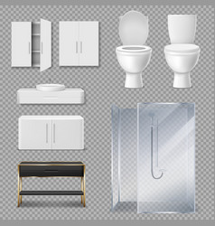 Shower cabin toilet bowl and sink for bathroom vector