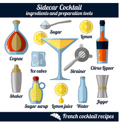 sidecar cocktail infographic set isolated vector image