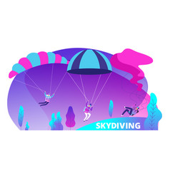 skydiving background with cartoon jumpers vector image