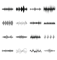 Sound wave icons set simple style vector