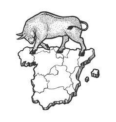 spain map and bull sketch engraving vector image